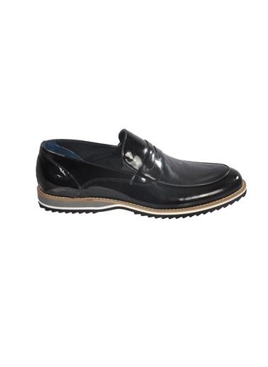 Luciano Bellini Hakiki Deri E403 Siyah Rugan Erkek Günlük Ayakkabı Siyah